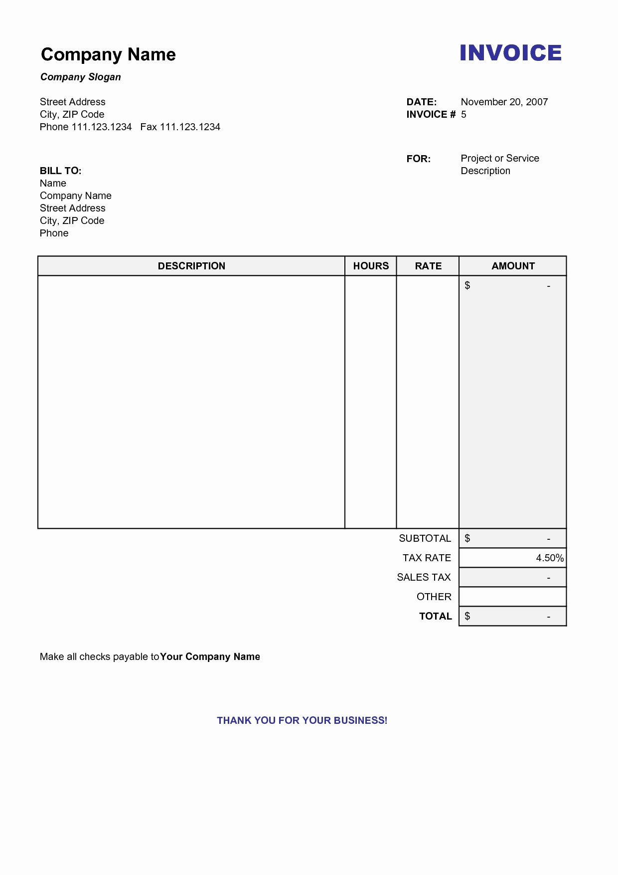 Free Invoice format In Word Fresh Free Printable Invoice Template Word Invoice Template Ideas