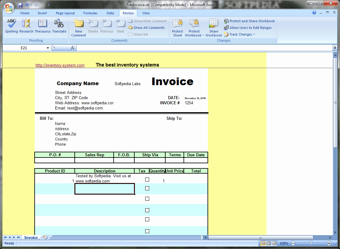 Free Invoice Template for Excel Awesome Download Free Excel Invoice Template 1 2