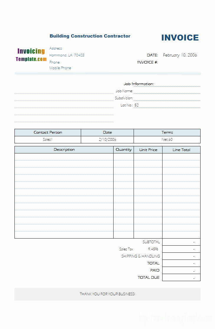 Free Invoice Template for Excel Inspirational Contractor Invoice Templates Free 20 Results Found