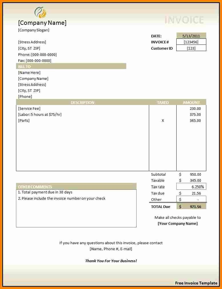 Free Invoice Template for Excel Inspirational Invoice Template In Excel Free Download Invoice Template