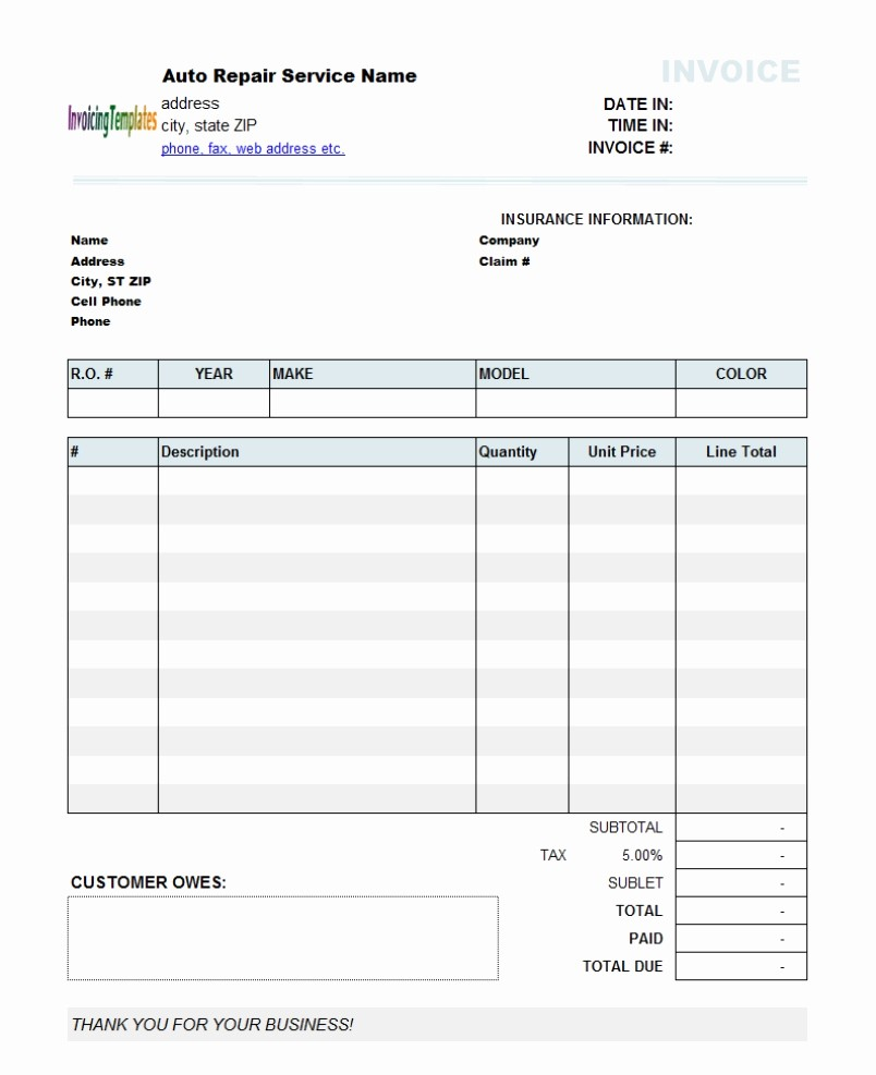 Free Invoice Template for Excel New Quickbooks Invoice Template Excel