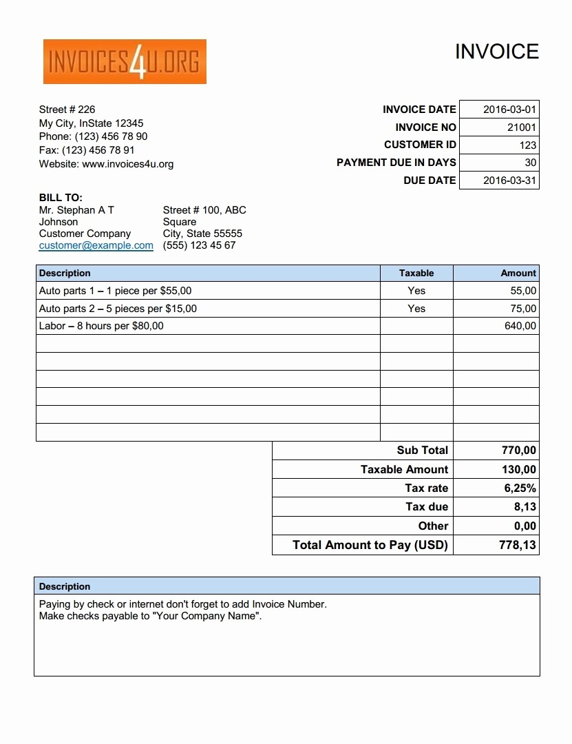 Free Invoice Template for Excel Unique Free Excel Invoice Template Download Invoice Template Ideas