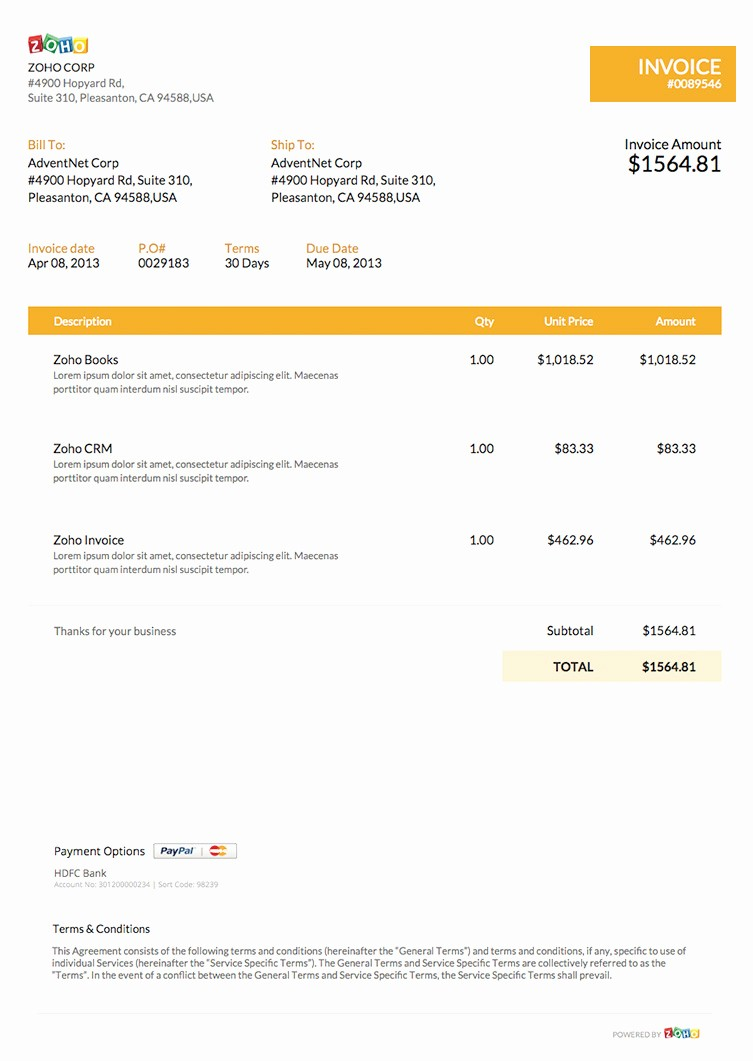 Free Invoice Template for Word Awesome Free Word Invoice Template Zoho Invoice