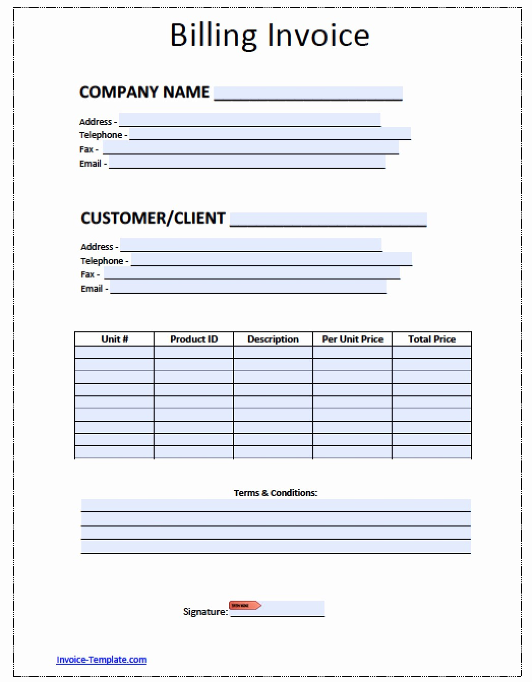 Free Invoice Template for Word Best Of Billing Invoice Template Download Free Blank Invoice