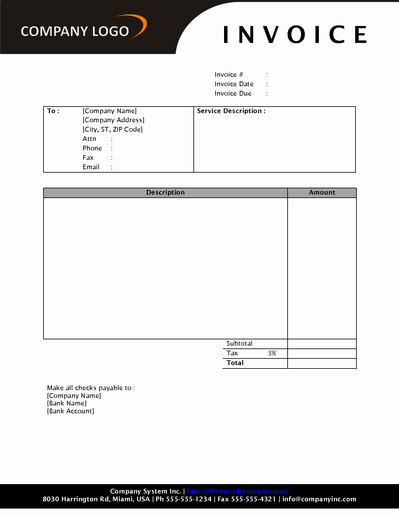 Free Invoice Template for Word Inspirational Download Invoice Template Invoice Design Inspiration