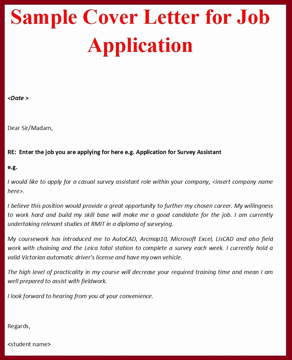Free Job Cover Letter Template Best Of Sample Cover Letter format for Job Application