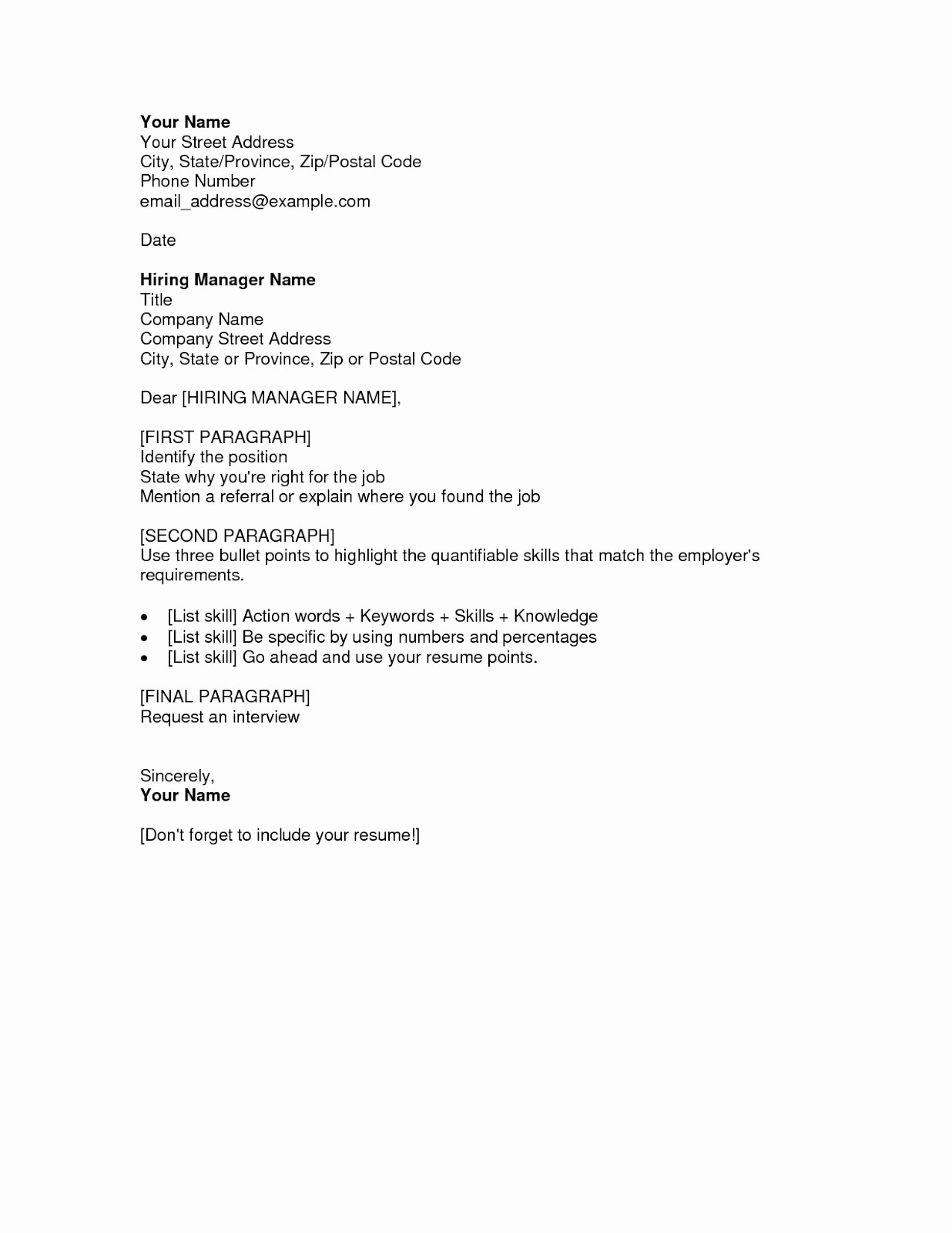 Free Job Cover Letter Template Inspirational Free Cover Letter Samples for Resumes