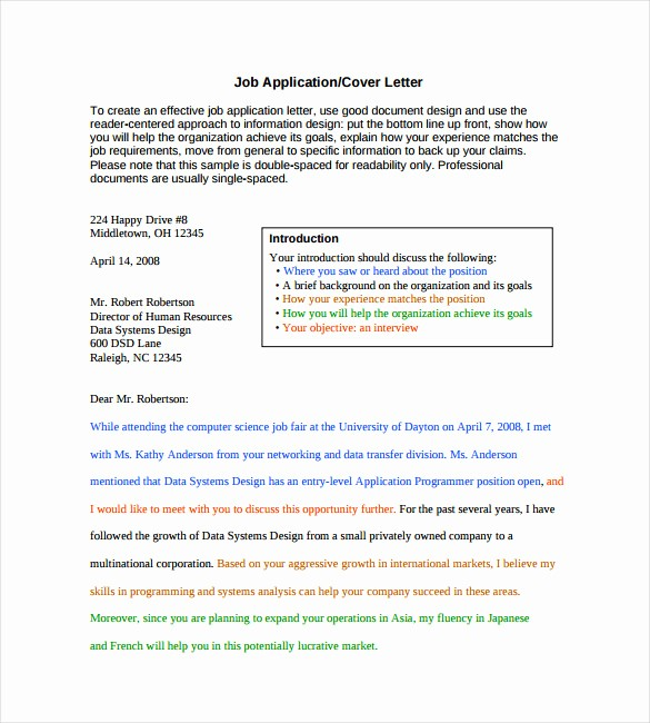 Free Job Cover Letter Template Unique 7 Employment Cover Letter Templates Free Sample
