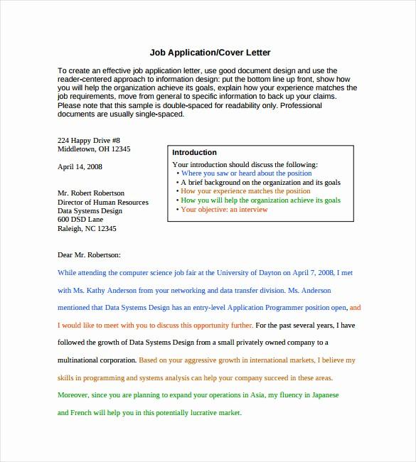Free Job Cover Letter Template Unique 7 Employment Cover Letter Templates Free Sample