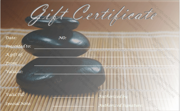 Free Massage Gift Certificate Template Lovely Zen Rocks Gift Certificate Template