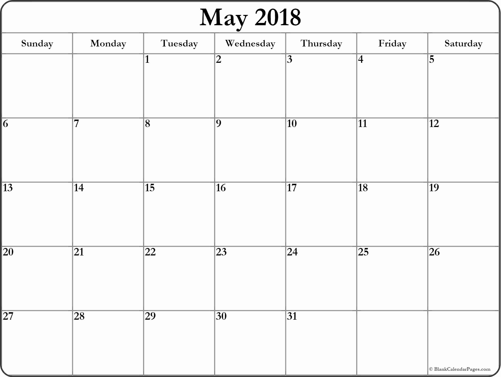 Free May 2018 Calendar Template Awesome May 2018 Blank Calendar Collection