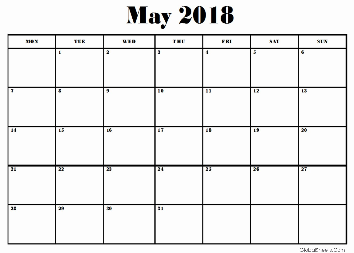 Free May 2018 Calendar Template Awesome May 2018 Calendar Template Printable
