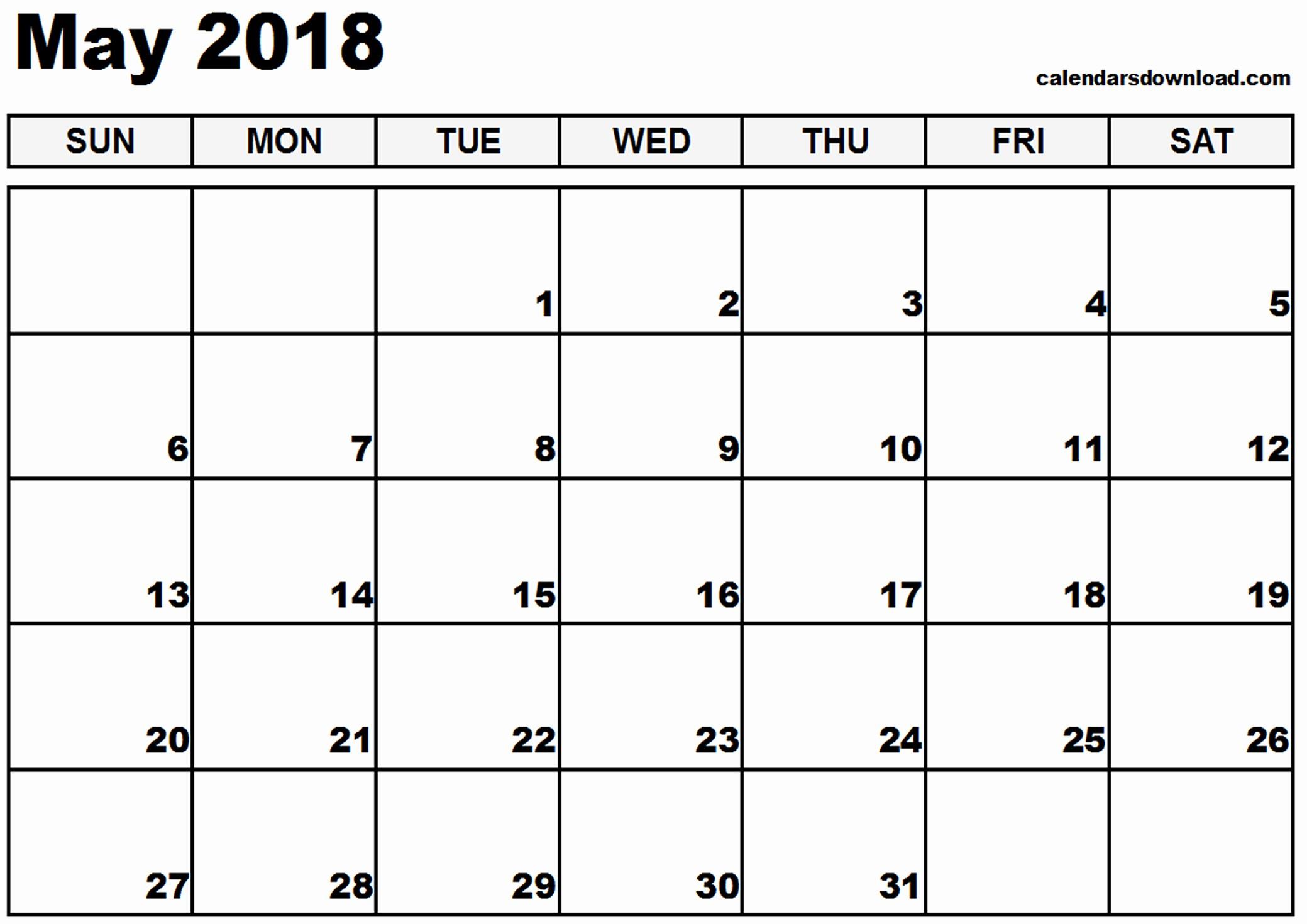 Free May 2018 Calendar Template Awesome May 2018 Printable Calendar