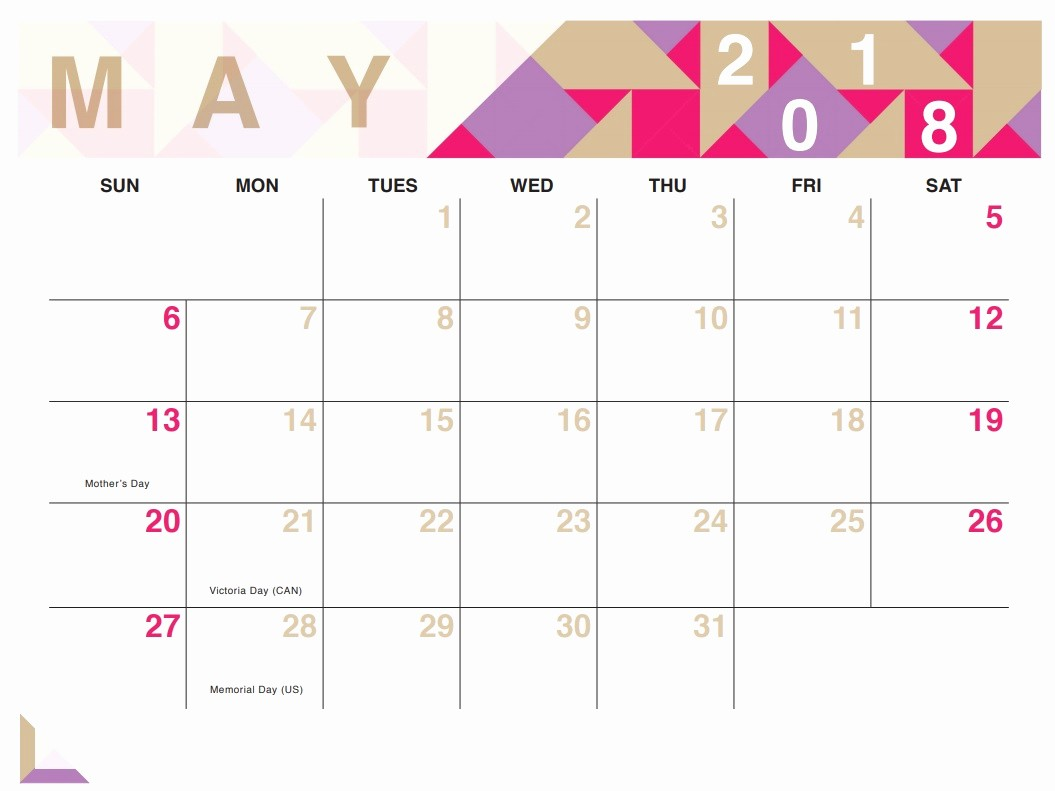 Free May 2018 Calendar Template Beautiful Geometric Free Printable 2018 Calendar