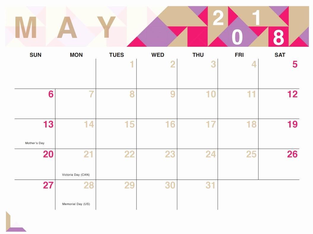 Free May 2018 Calendar Template Beautiful Geometric Free Printable 2018 Calendar