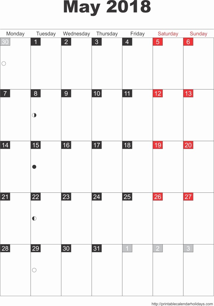 Free May 2018 Calendar Template Best Of May 2018 Calendar – Template Portrait Printable 2017