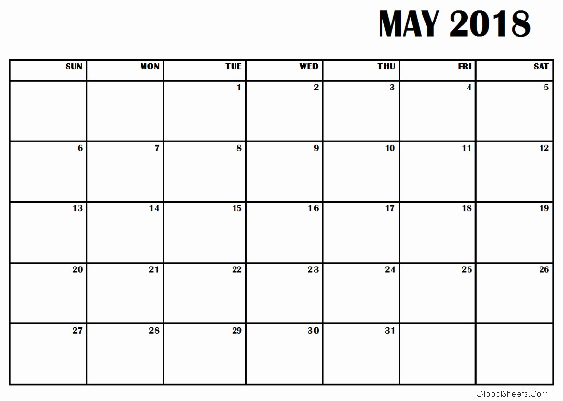 Free May 2018 Calendar Template Best Of May 2018 Calendar Template Printable