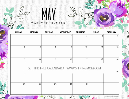 Free May 2018 Calendar Template Elegant 12 Free Printable May 2018 Calendar Planners