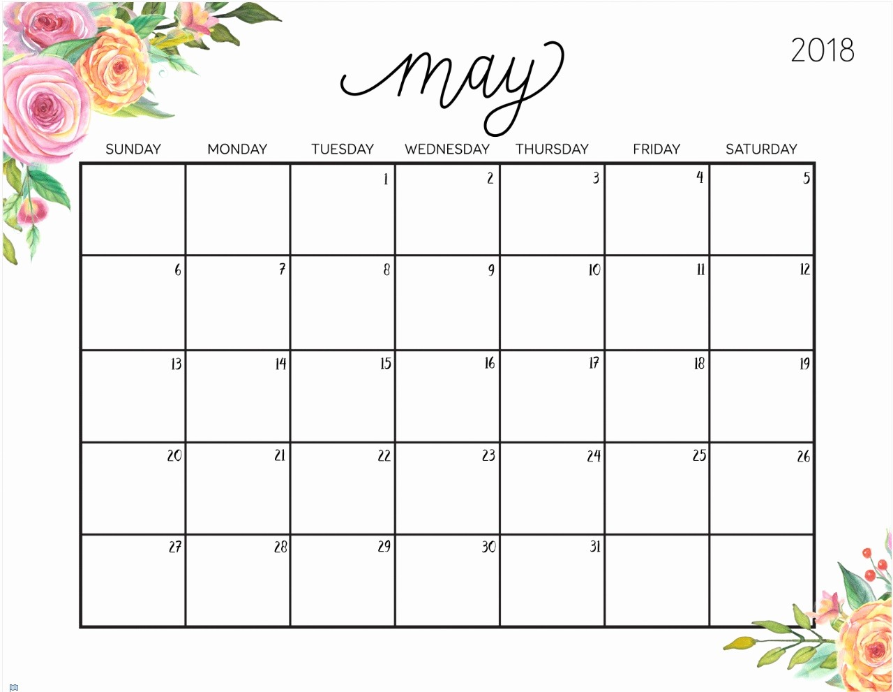 Free May 2018 Calendar Template Elegant Free Printable 2018 Calendar with Weekly Planner