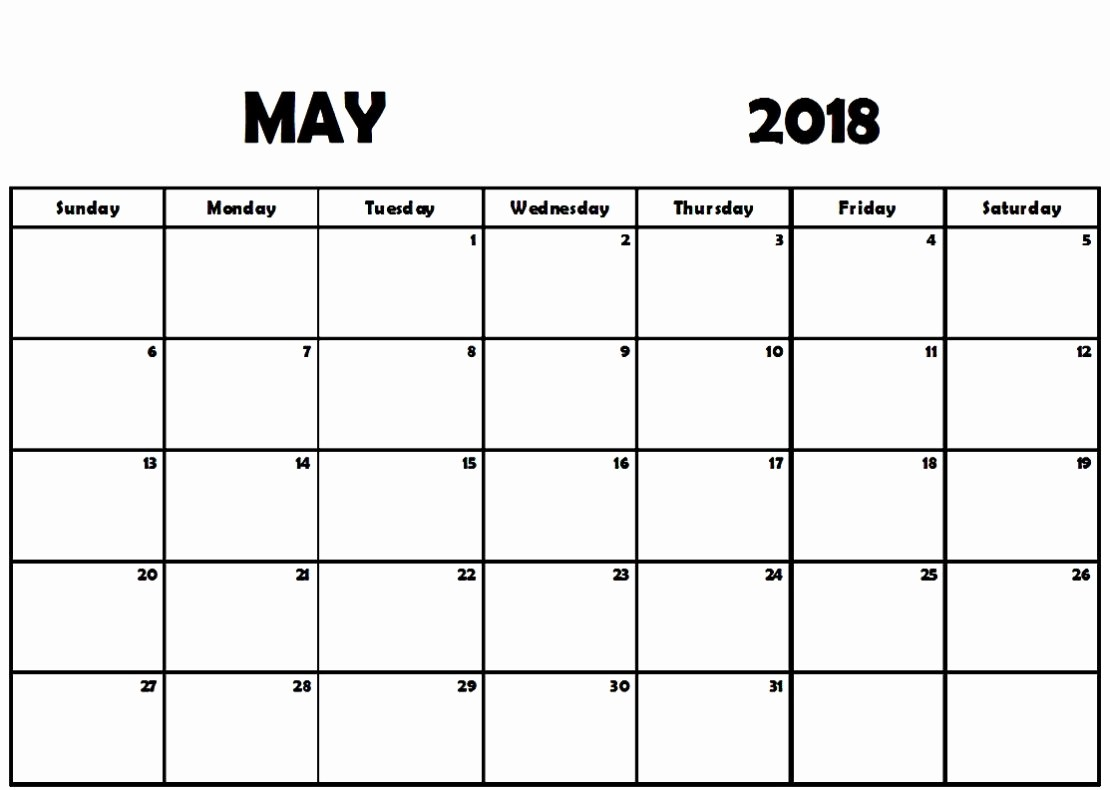 Free May 2018 Calendar Template Elegant May 2018 Printable Calendar Pdf Free Monthly Template