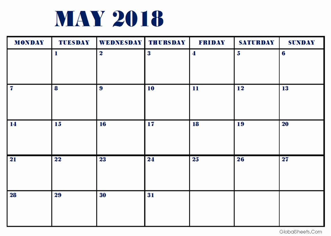 Free May 2018 Calendar Template Fresh May 2018 Calendar Google Sheets Templates