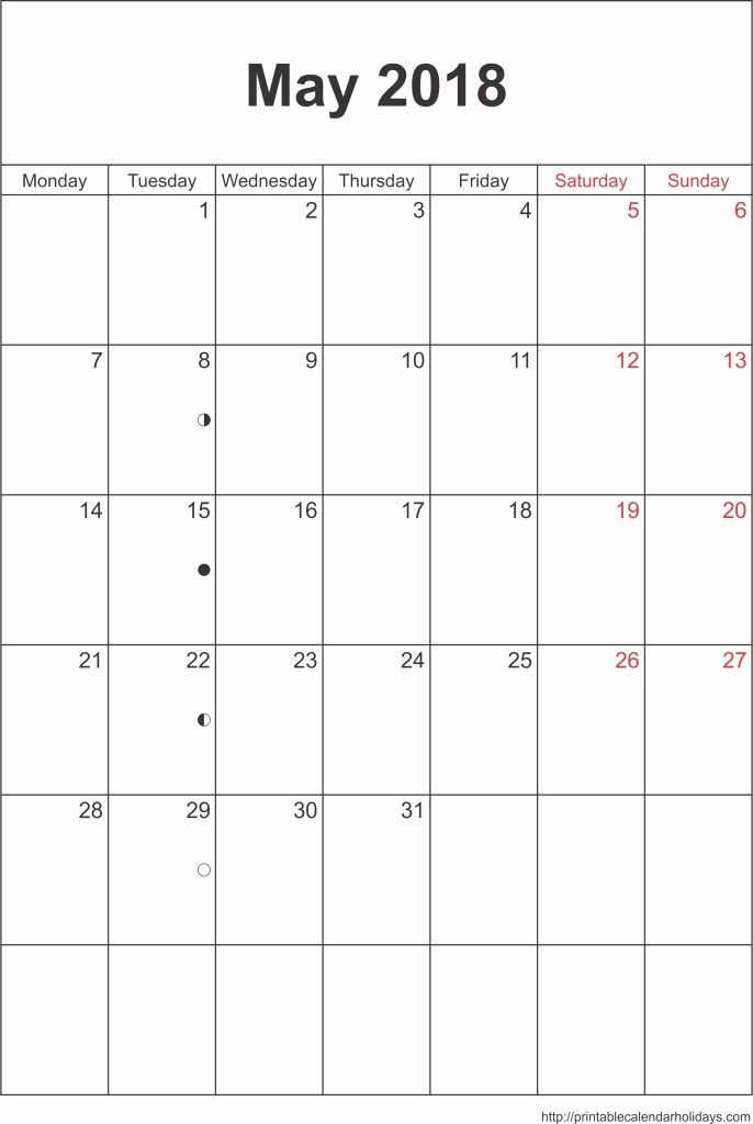 Free May 2018 Calendar Template Fresh May 2018 Calendar – Template Portrait Printable 2017