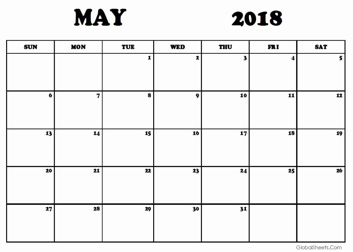 Free May 2018 Calendar Template Fresh May 2018 Calendar Template Printable