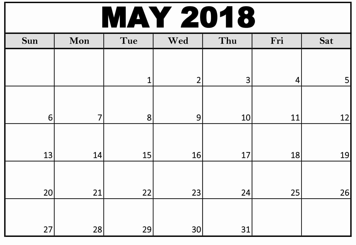 Free May 2018 Calendar Template Inspirational Free 5 May 2018 Calendar Printable Template Pdf source