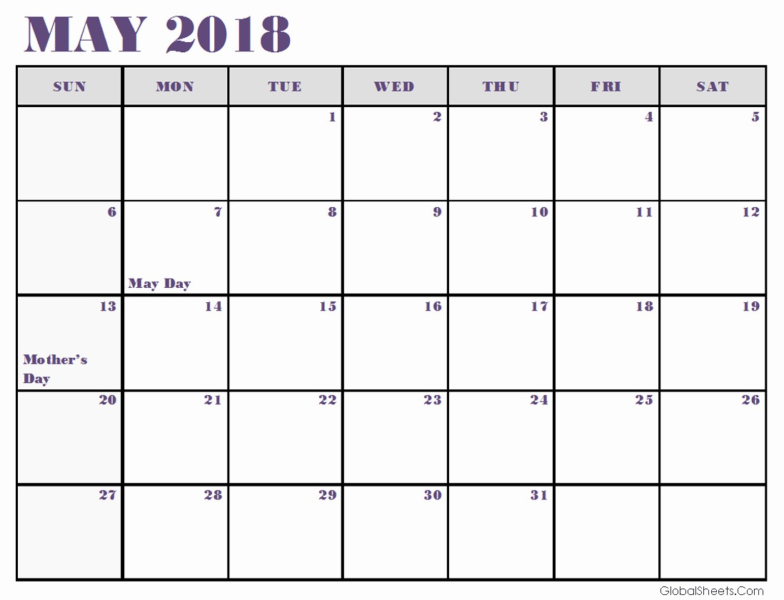 Free May 2018 Calendar Template Inspirational May 2018 Calendar Excel Template