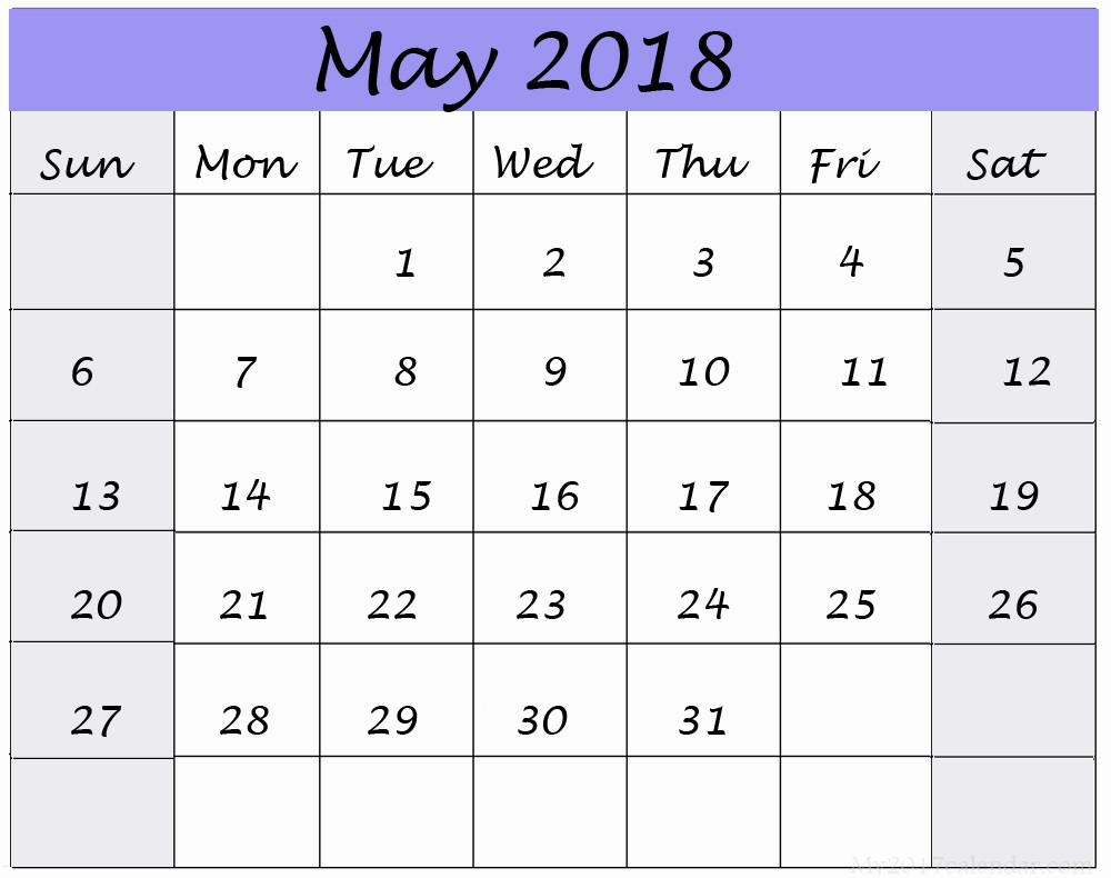 Free May 2018 Calendar Template Lovely May 2018 Calendar Printable 8 Free Templates Web E