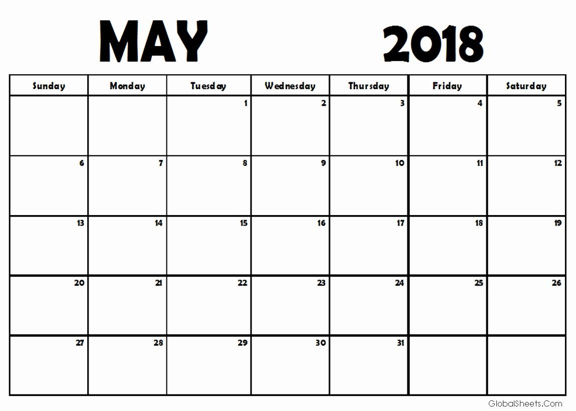 Free May 2018 Calendar Template Luxury May 2018 Calendar Template Free Design