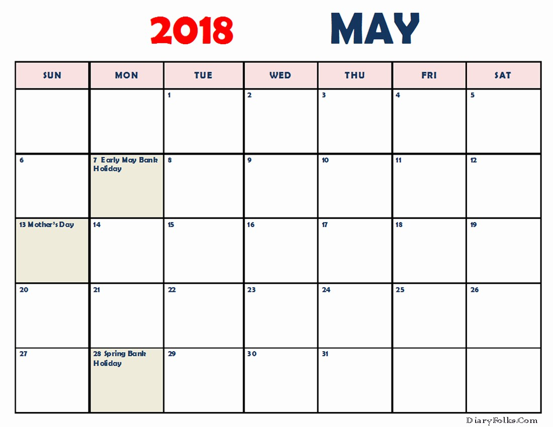 Free May 2018 Calendar Template Luxury Printable May 2018 Calendar Editable