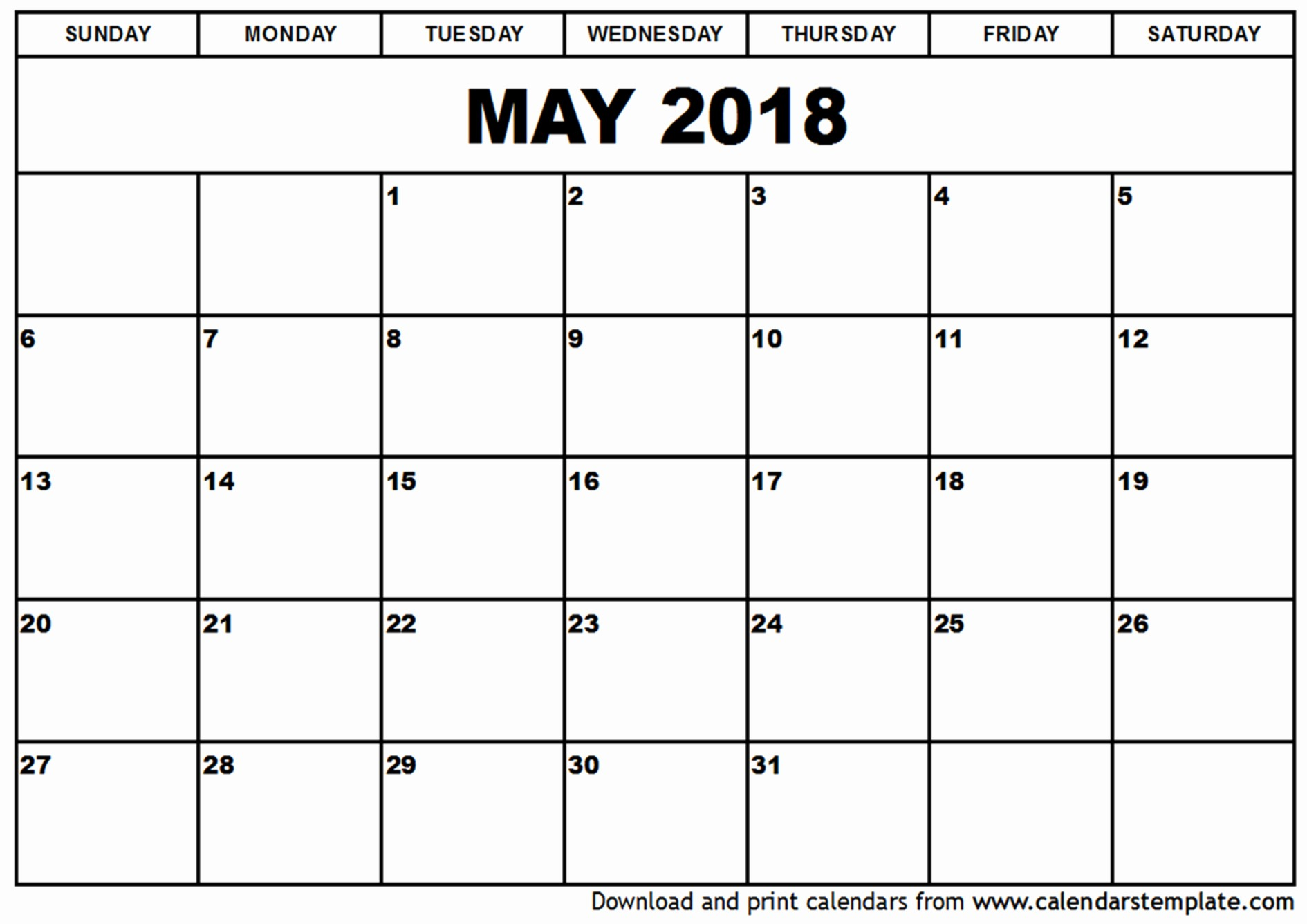 Free May 2018 Calendar Template Unique May 2018 Calendar Template