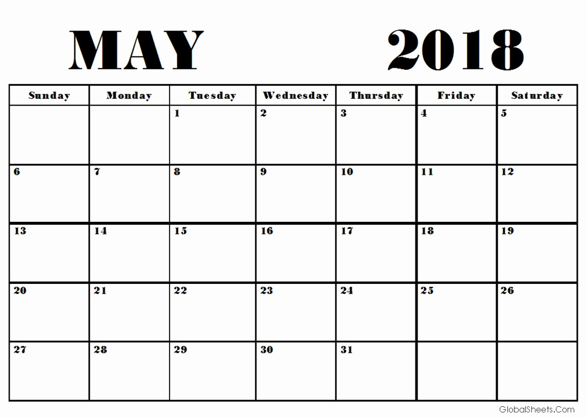 Free May 2018 Calendar Template Unique May 2018 Calendar Template Printable