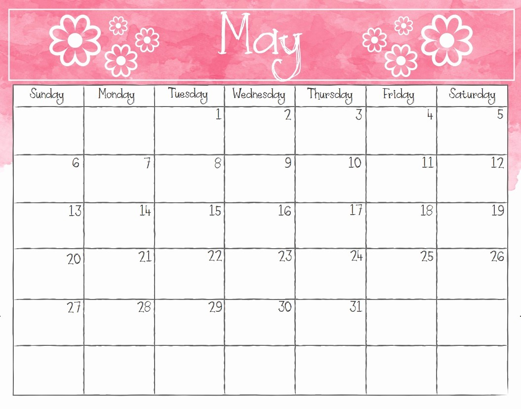 Free May 2018 Calendar Template Unique Printable May 2018 Calendar