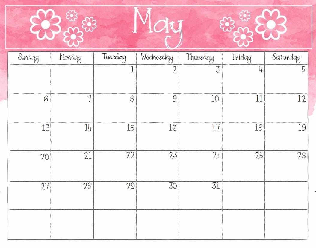 Free May 2018 Calendar Template Unique Printable May 2018 Calendar