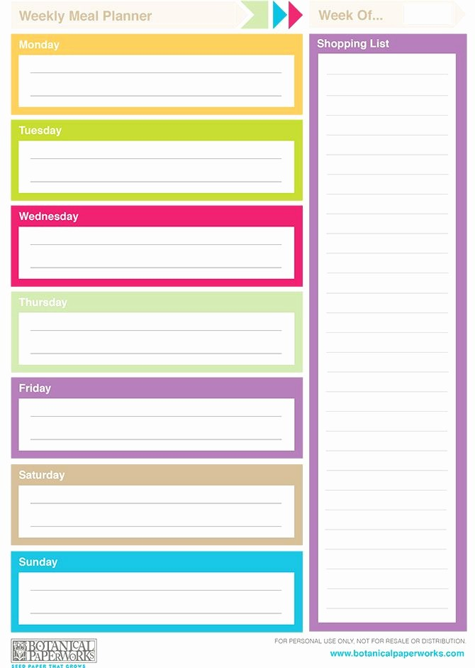 Free Meal Planner Template Download Beautiful Free Printable 2014 Weekly Planners