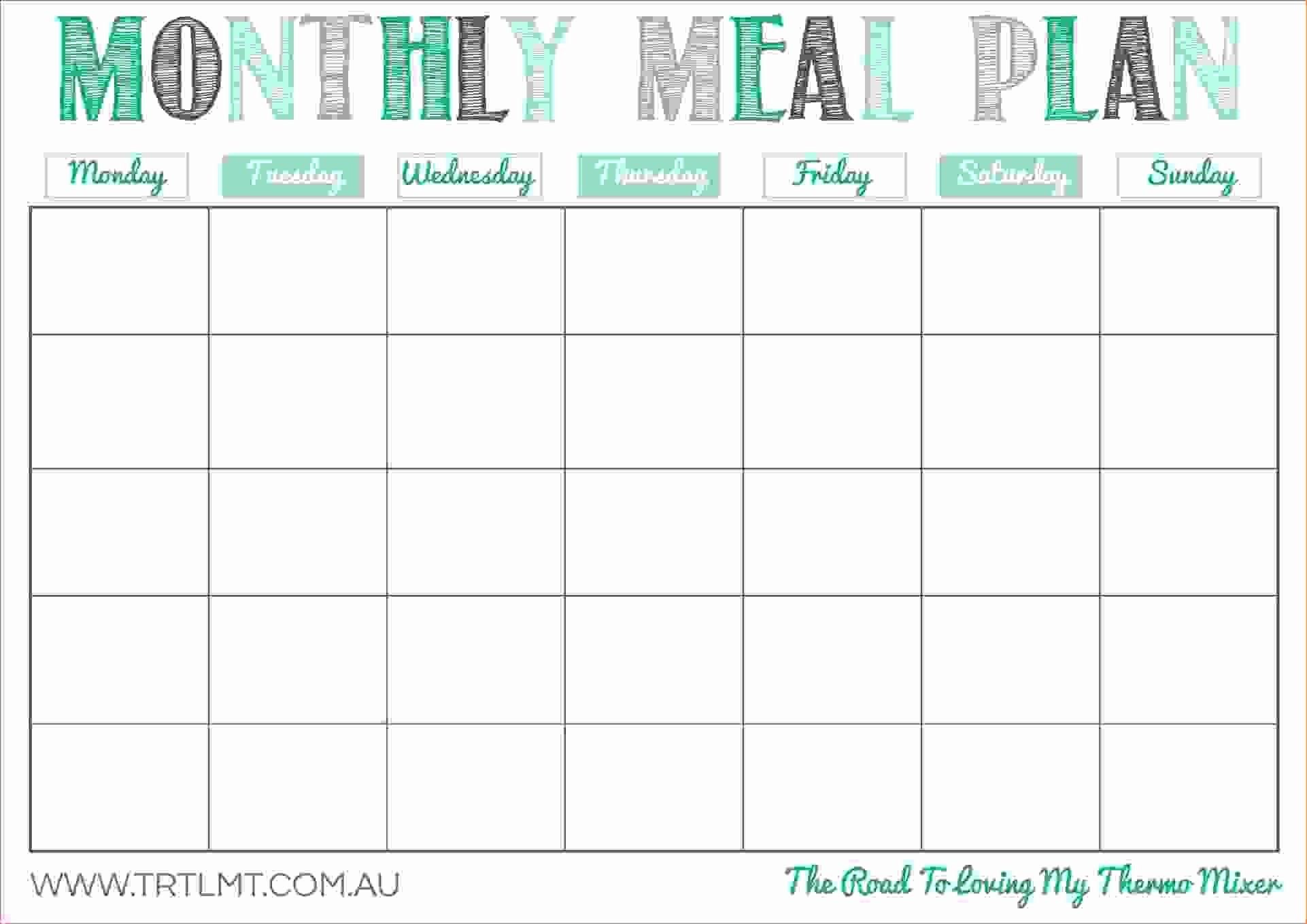 Free Meal Planner Template Download Elegant 10 Monthly Planner Template