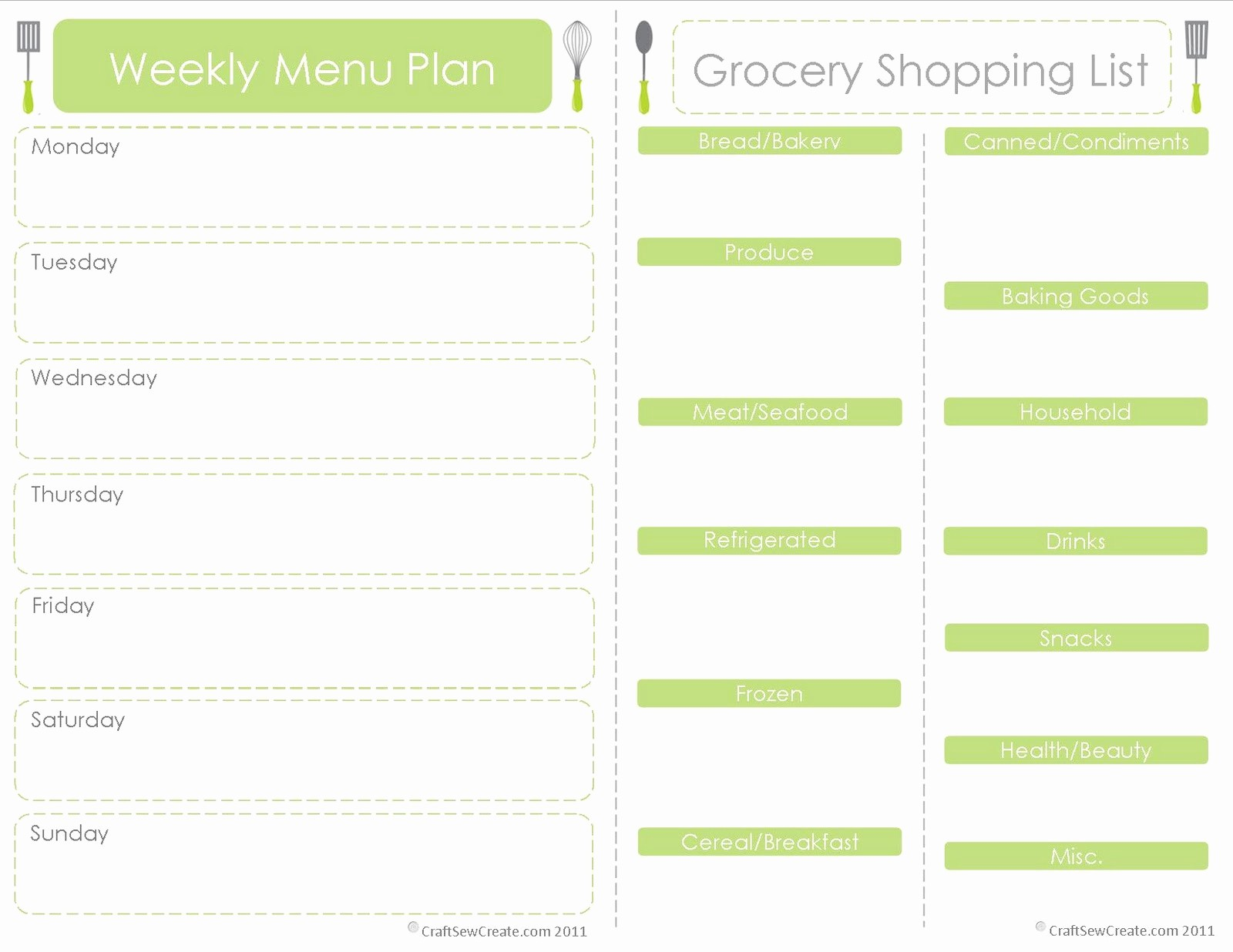 Free Meal Planner Template Download Elegant Craft Sew Create Free Printable Menu Plan Shopping List