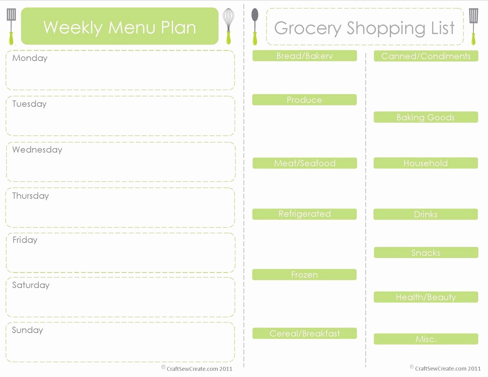 Free Meal Planner Template Download Elegant Craft Sew Create Free Printable Menu Plan Shopping List