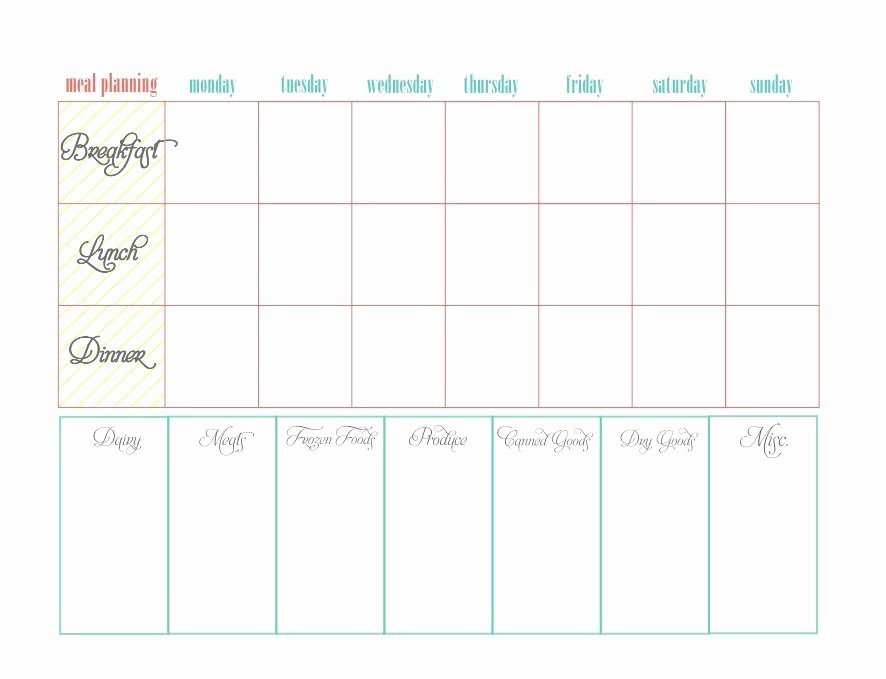 Free Meal Planner Template Download Fresh 40 Weekly Meal Planning Templates Template Lab