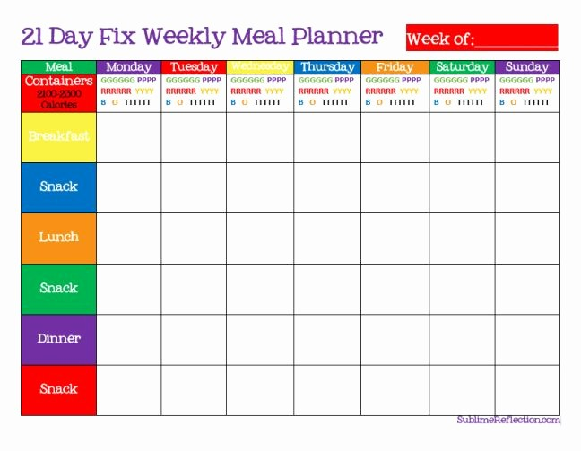 Free Meal Planner Template Download Fresh 7 Day Meal Planner Template