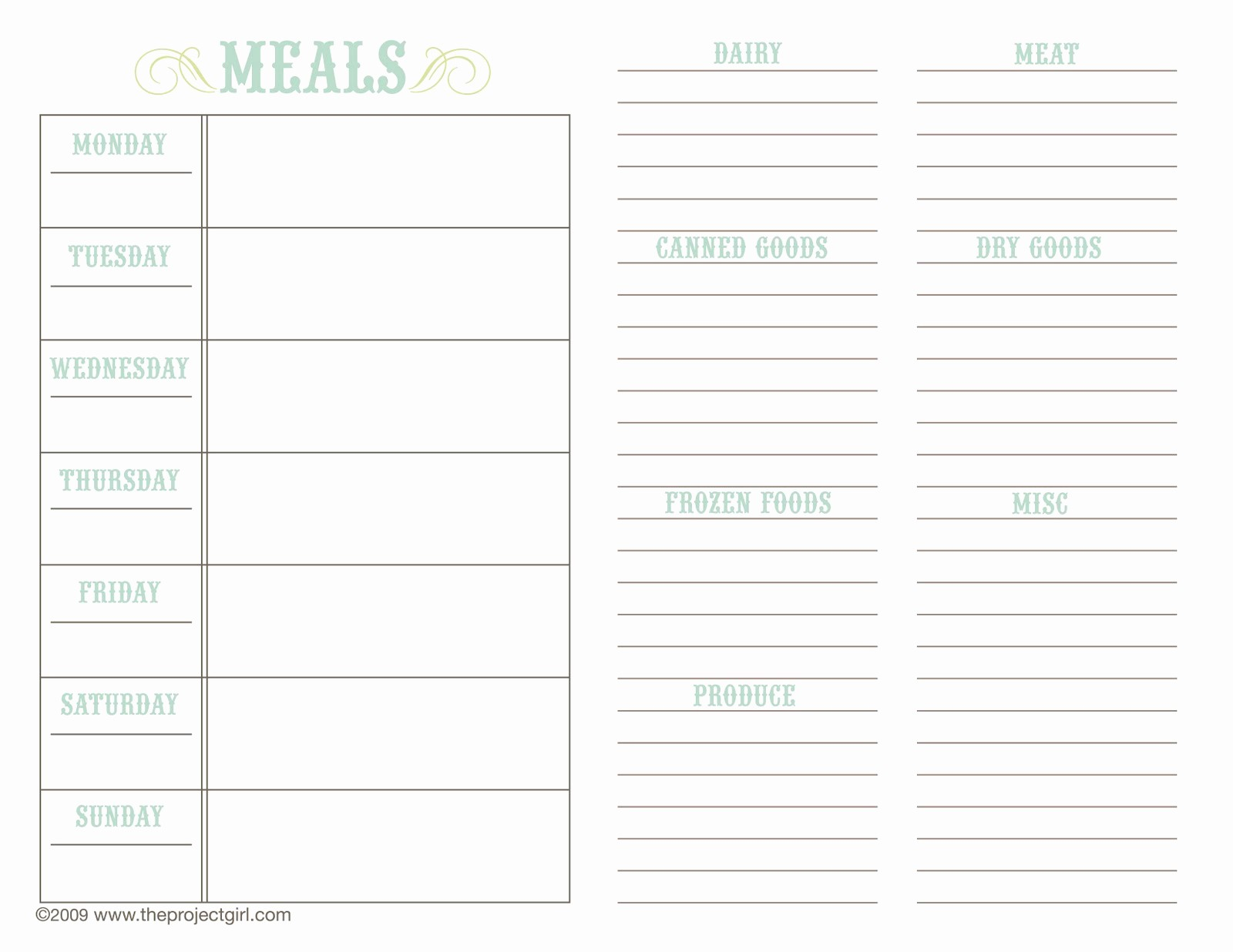 Free Meal Planner Template Download Fresh Meal Planner Template