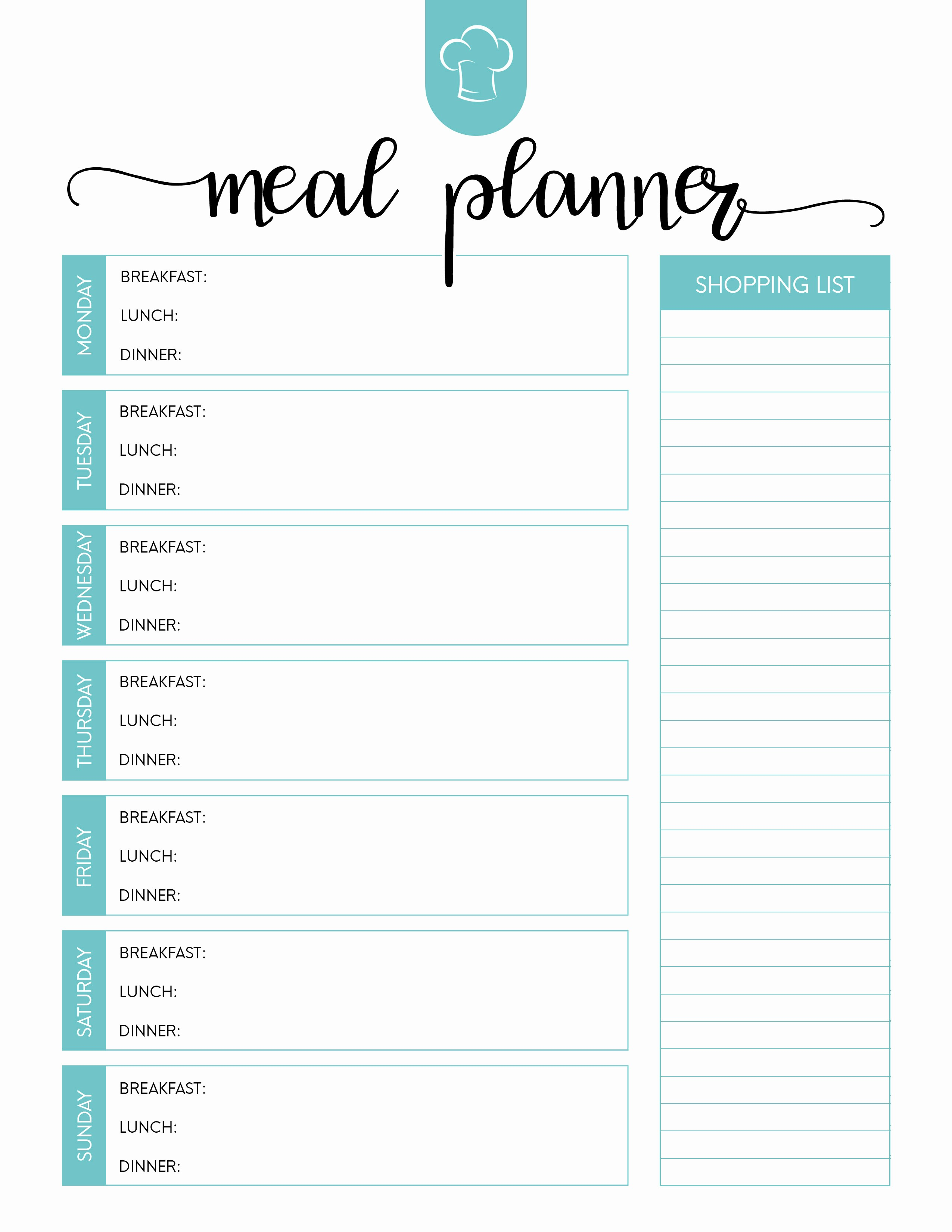 Free Meal Planner Template Download Inspirational Free Printable Meal Planner Set the Cottage Market
