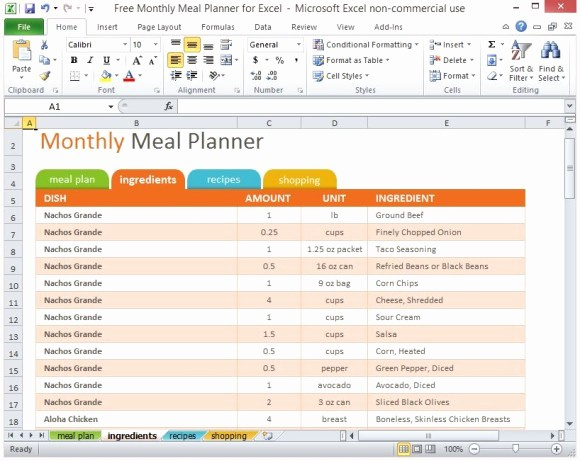 Free Meal Planner Template Download Unique Free Monthly Meal Planner for Excel