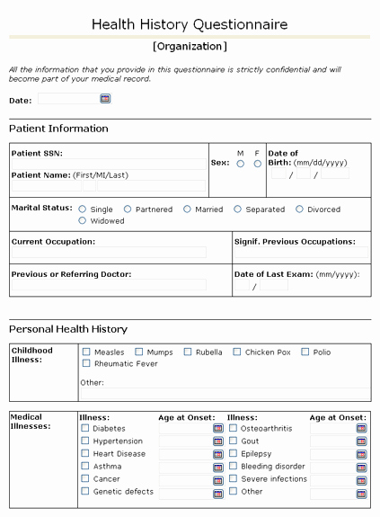Free Medical History form Template Beautiful Health History Questionnaire with Free form List for