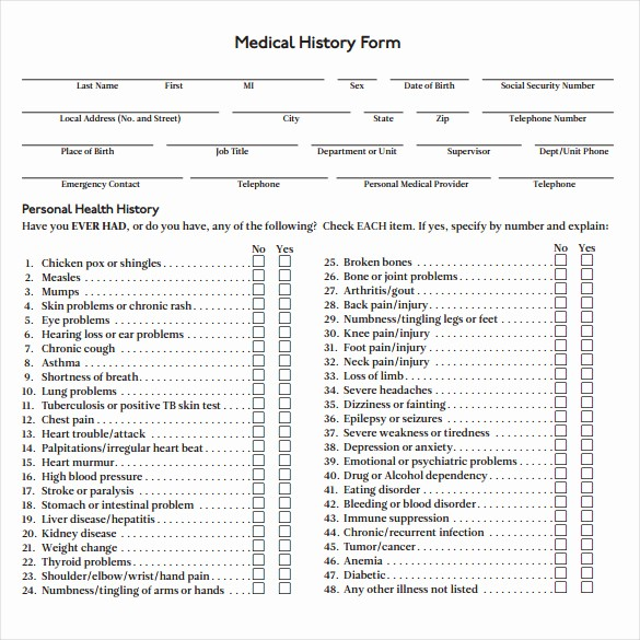 Free Medical History form Template Fresh 8 Medical History forms