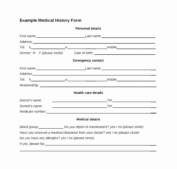 Free Medical History form Template Lovely Health History Template