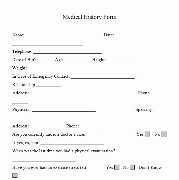 Free Medical History form Template Luxury Medical History forms