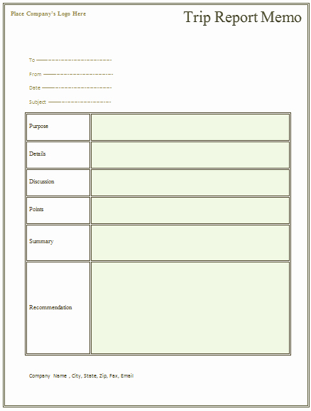 Free Memo Template for Word Awesome Trip Report Memo Template for Business Trips